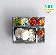 Soniya's Art Lounge Idly Breakfast-Handmade Miniature Food Fridge Magnet (4 x 3.2 cm, White)