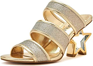 Katy Perry Women's The Star Heeled Sandal, CHAMPAGNE, 9