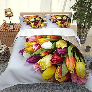 IGCCQDN Ropa de Cama 3D Impresión de Flores de Colores Funda nórdica 260x240cm y 2 Fundas de Almohada 50x75cm Microfibra, Suave y antialérgica Juego de Cama de 3 Piezas