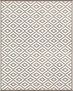 Green Decore Lightweight Outdoor Reversible Plastic Nirvana Rug (8 X 10, Taupe/White)