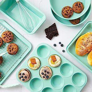 مجموعه لوازم آشپزی Rorence Nonstick: ورق کلوچه ، قالب کیک مستطیل شکل ، 2 قالب کیک گرد ، ظرف مافین ، ظرف قابلمه