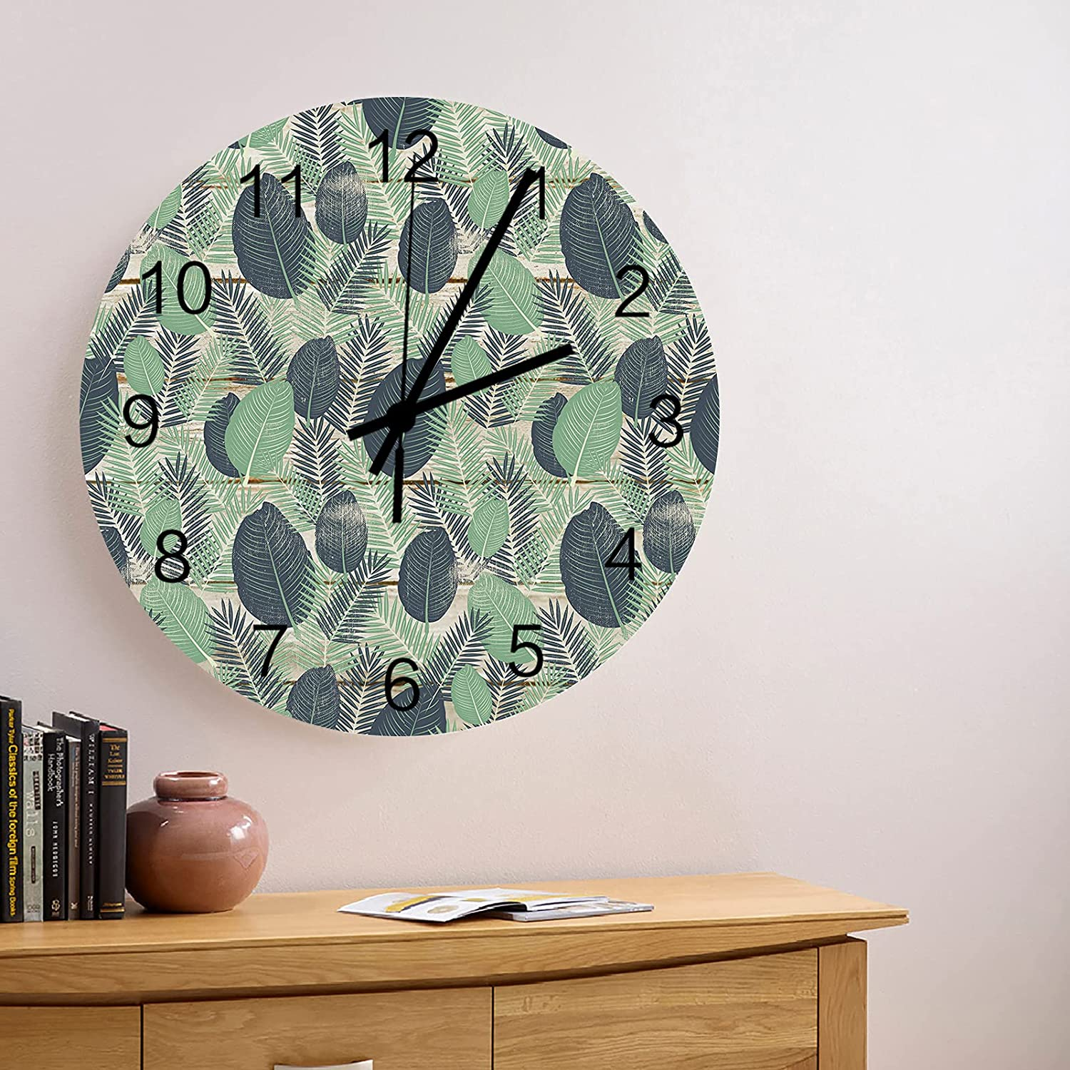 Ranking TOP20 12 Inch Silent Non-Ticking Wall Save money Sunmmer Clock Green Tropic Leave
