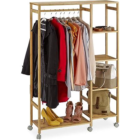 Relaxdays Portant à roulettes Bambou, Penderie Porte vêtements Tringle Rangement 6 étagères, 136,5 x 92 x 30 cm, Nature