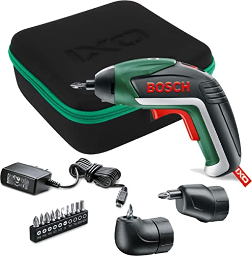 Bosch Cordless Screwdriver IXO V Full Set (Integrated Battery, 3,6 Volt, Angle Adapter, OffSet Angle Adapter, 10 Scre...