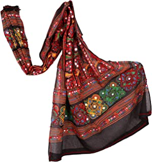 Cotton Long Women's Kutch Work Cotton Dupatta Embroidery Floral Stole Veil Stole Hijab Sarong