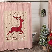 "Piper Classics Homespun Red Ticking Reindeer Shower Curtain, 72"" x 72"", Primitive, Farmhouse Bathroom Décor, Christmas, Ho..."