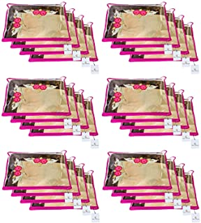 Kuber Industries™ Single Packing Saree Cover 24 pcs Set (Pink)