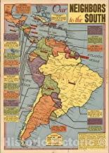 Historic Map - Our Neighbors to the South (South America), Sunday News, May 21, 1944. 1944 - Vintage Wall Art - 44in x 62in