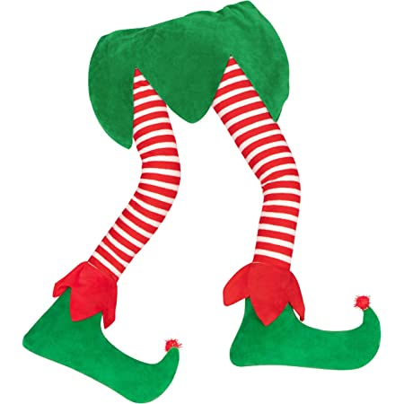 """23"""" Christmas Elf Stuffed Legs Stuck Tree Topper Decorations -Xmas Holiday Indoor Outdoor Decor Party Ornaments"""