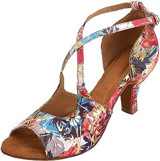 HXYOO Zapatillas de salón Interiores para Mujeres latín Salsa WK013