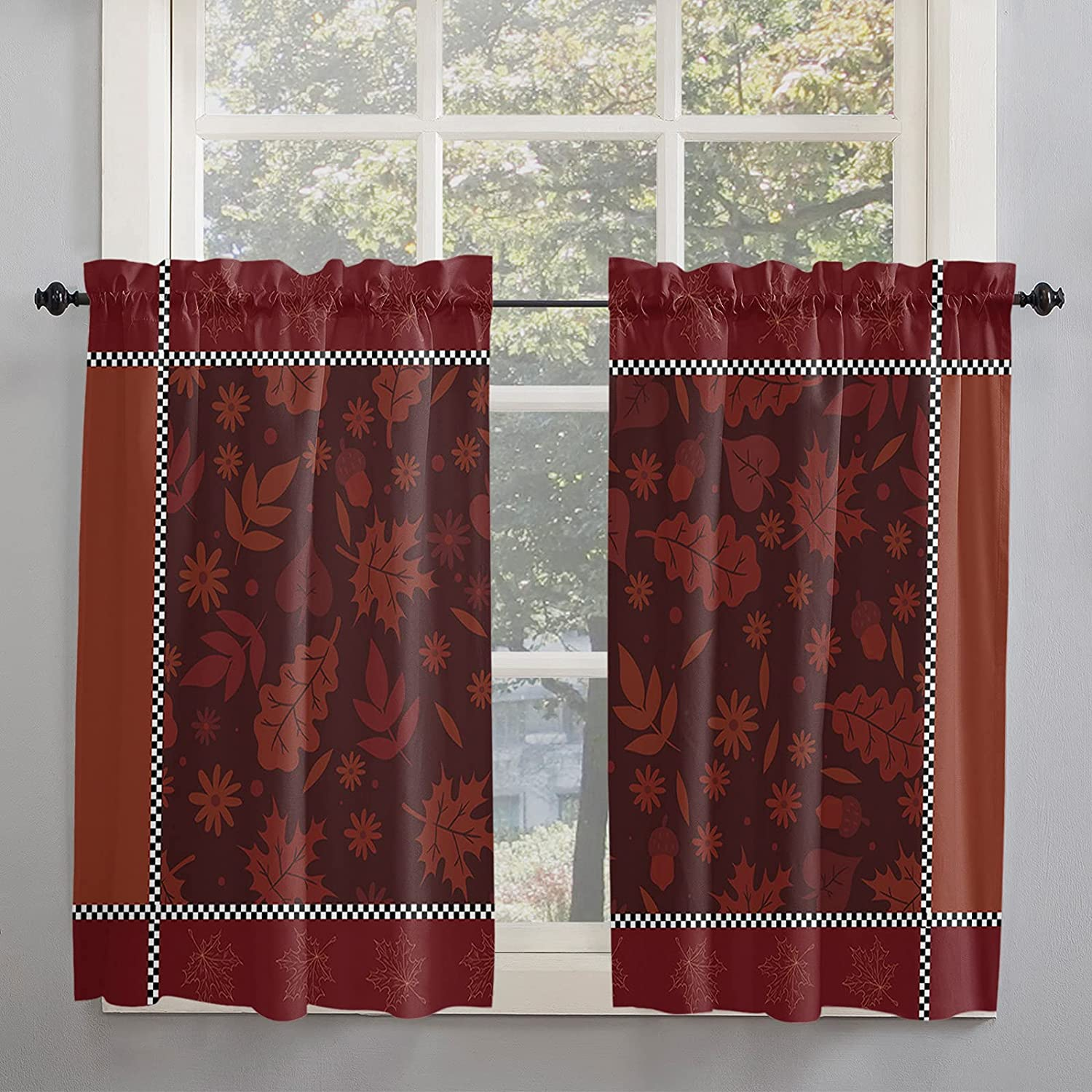 Fall Thanksgiving Day Kitchen Curtains 45 Length Same day shipping for Inch Window Max 69% OFF