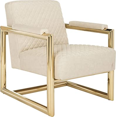 Safavieh Couture Home Merlene Glam Cream Leather Quilted Arm Chair