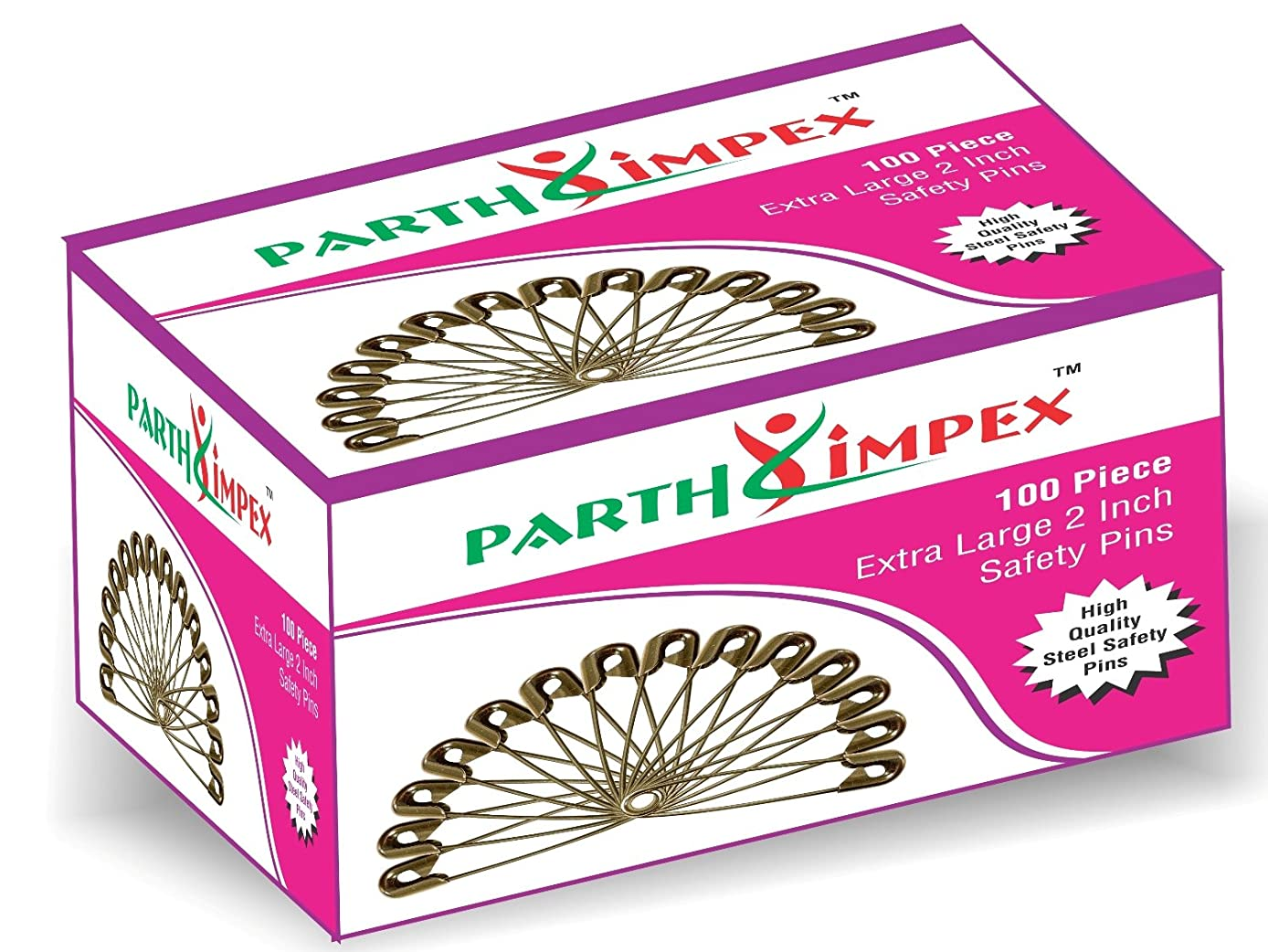 PARTH IMPEX 100 Extra Large Sturdy Safety Pins 2 Inches / 50 mm Sewing Craft Pin Needles (Pack of 100 Pin) Nickel Steel Polished