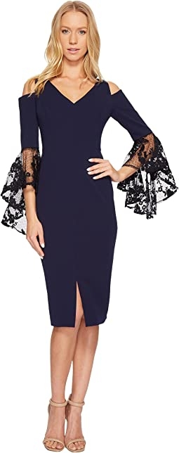 Maggy London - Crepe Scuba Cascade Sheath with Embellished Dramatic Sleeve