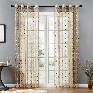 Top Finel Embroidered Dot Voile Sheer Curtains 54 Inch Wide for Living Room Bedroom Grommet Window Curtains, 2 Panels (Brown, 54