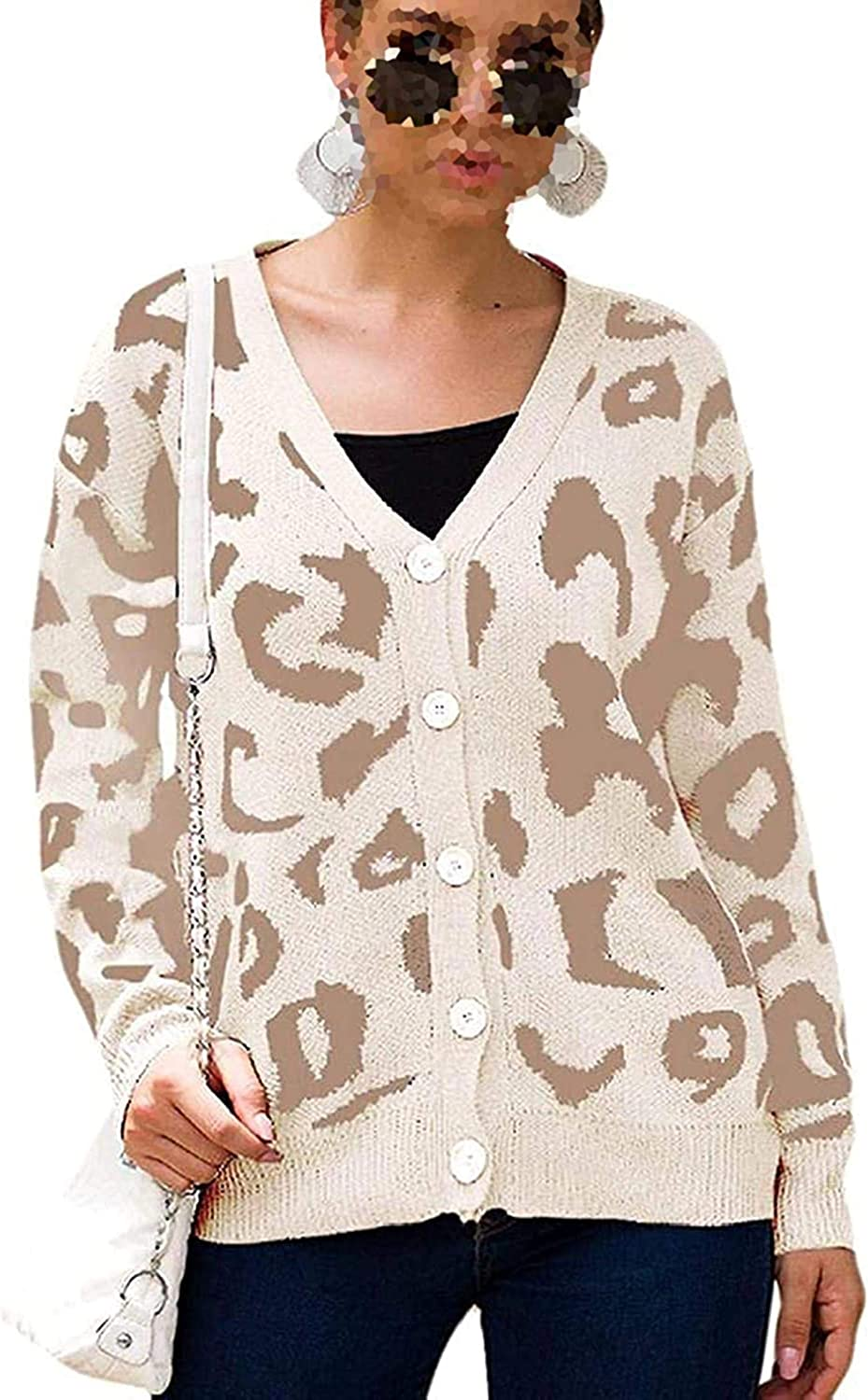 Women Sweater Leopard Tampa Mall Print Open Front Knit Button Max 56% OFF Long U Sleeve