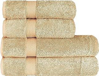 Lot de 4 Serviettes de Luxe Albeny® Pack de 2 Serviettes de Bain / Serviettes de Douche 70x140 cm et 2 Serviettes 50x100 c...