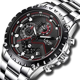 LIGE Watch for Men Waterproof Business Quartz Stainless Steel Band Sport Chronograph Wrist Watch