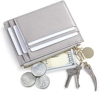 Slim Wristlet Card Case Holder Small RFID Blocking Wallet Change Purse for Women Keychain