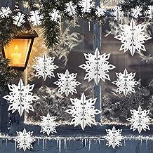 GuassLee 12PCS 3D Hanging Snowflakes Pendant Decorations - White Paper Snowflakes Size Varies for Winter Wonderland Christ...