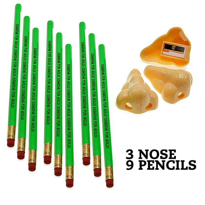 Three Nose Pencil Sharpeners and Nine Booger Themed Pencils – Novelty Stationery Back to School Gift – Gag Gifts Adults and Children