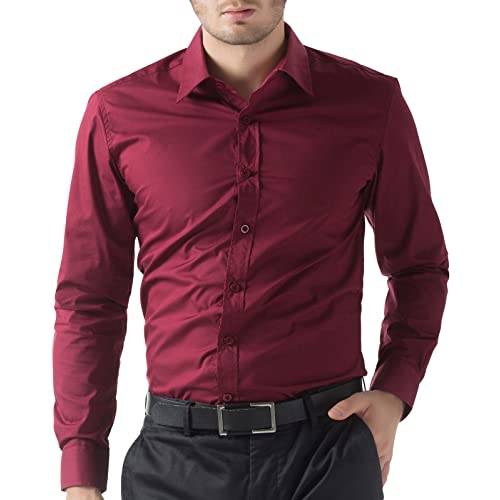 f555834119 Men s Casual Business Slim Fit Shirt Button Down