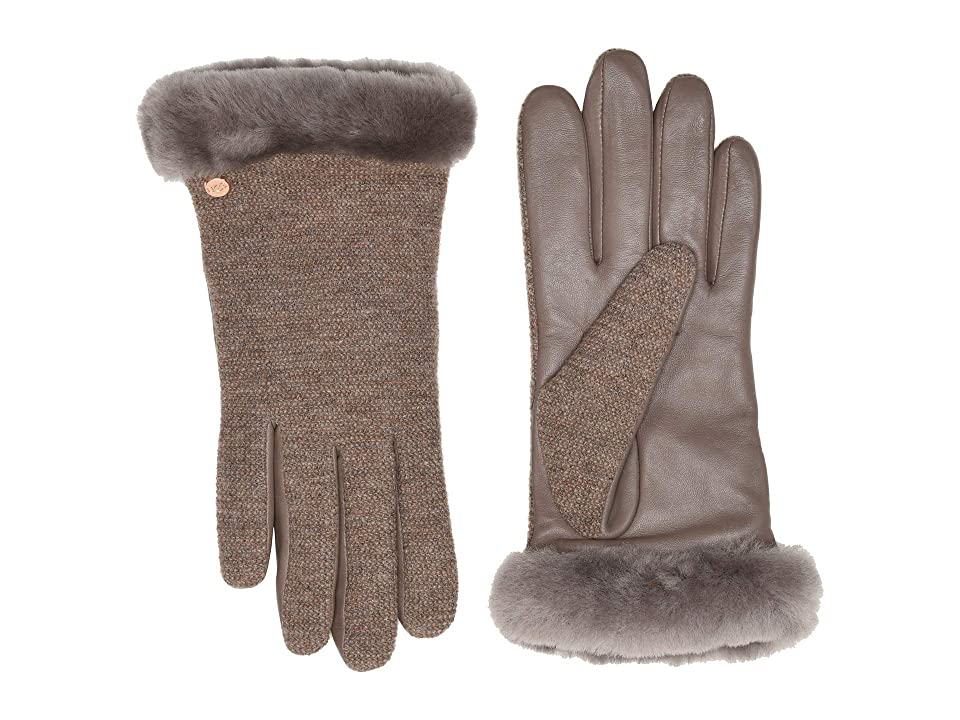 UGG Short Italian Wool Blend Tech Gloves with Long Pile Sheepskin Trim (Stormy Grey) Extreme Cold Weather Gloves