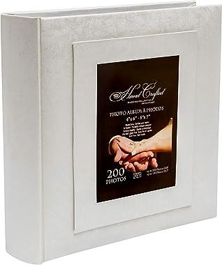 """KVD Albums Wedding Photo Album, Fits 200 """"4X6""""/100 """"5X7 Photos, with Window Frame Cover,White"""