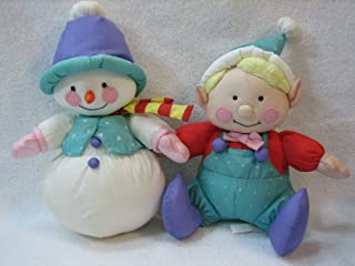 Russ Berrie Snowman and Elf Set of Two 9