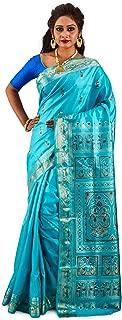 SareesofBengal Women's Katan Silk Meenakari Baluchari/Swarnachari Saree (B063, Sky Blue)
