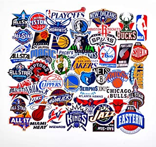 43Pack NBA Team Stickers Set All Star Teams Collection Sticker Decals Packs for Water Bottle Laptop Cellphone Skateboard Bicycle Motorcycle Car Bumper Luggage Travel Case. Etc