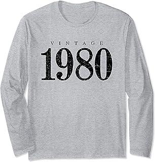 Jahrgang 1980 (Vintage/Schwarz) 40. Geburtstag Geschenk Langarmshirt