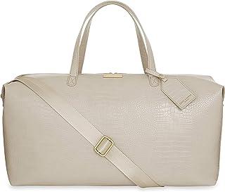Katie Loxton Celine Faux Croc Vegan Leather Double Zipper Shoulder Weekender Duffle Bag Oyster Grey