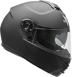 Vega Helmets VR1 Modular Motorcycle Helmet with Sunshield - DOT Certified Half to Full Face Flip Up Motorbike Helmet for Cruisers Scooter Touring Moped, Bluetooth Compat (Matte Black, Medium)