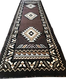 Southwest Native American Runner Area Rug Chocolate Brown Design #D143 (2ftx7ft)