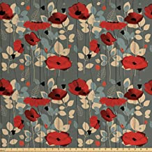 Ambesonne Poppy Fabric by The Yard, Abstraction of a Growing Floral Garden Leaves..