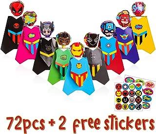 Ticiaga 72pcs Superhero Lollipop Decoration Cards, Paper Candy Holder for Kids Superhero Theme Party Favors, Party Candy Decoration with 9 Different Hero Character Styles, Bonus 2pcs Hero Stickers