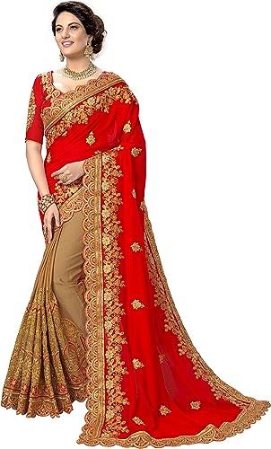 Nivah Fashion Women's Plain Weave Silk Blend Saree With Un-stitched Blouse