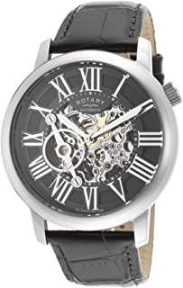 Men's Automatic Watch with Skeleton Dial and Black Leather Strap