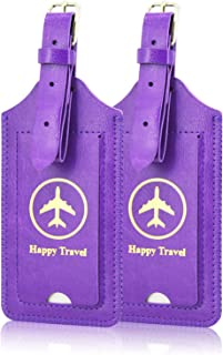 2 Pack Luggage Tags, ACdream Premium PU Leather Case Name Luggage Bag Tags for Travel Bag Suitcase Set with Name ID Labels...