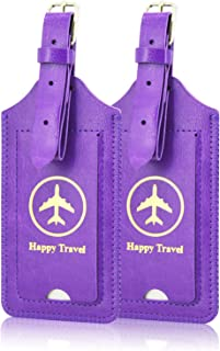 Luggage Tags, ACdream Leather Case Luggage Bag Tags Travel Tags 2 Pieces Set, Purple