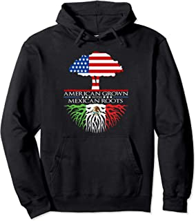 Mexican Roots American Grown Tree Flag USA Mexico Pullover Hoodie