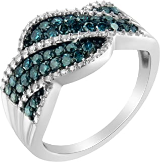 Sterling Silver Treated Blue Color Diamond cocktail Ring (1/2 cttw, Treated Blue Color, I2-I3 Clarity)