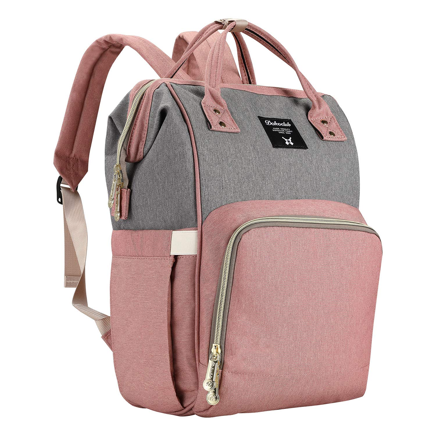 Backpack Diaper Bag Baby Bags for Mom, Large Capacity Diaper Backpacks Nappy Travel Bags, Multi-Function Waterproof, Stylish and Durable (Gray-Pink)