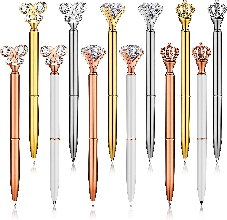 Yexiya 12 Pieces Rhinestones OFFicial store Metal Crown Top Pens Max 55% OFF Ballpoint
