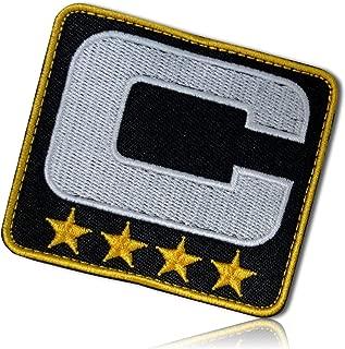 "Upper Case Letter C w/Four Stars Captain Leader Coach Sports Team Football Hockey Basketball Soccer Jersey Varsity Letterman Jacket Hook & Loop Fastener Patch [ 3"" x 2.5""] + Certificate"