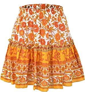 Yisism Womens A-Line High Waist Summer Flare Floral Print Pleated Mini Skirt