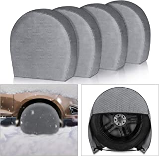 "EEEKit Tire Covers 4 Pack - Tough Vinyl Tire Wheel Protector for Truck, SUV, Trailer, Camper, RV - Universal Fits Tire Diameters 26.75"" - 28.9"" inches"