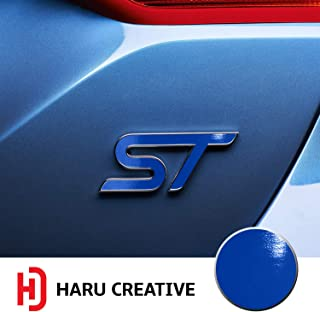 Haru Creative - Front Grille Hood Rear Trunk Emblem Letter Insert Overlay Vinyl Decal Sticker Compatible with and Ford Focus ST 2013-2019 - Gloss Blue