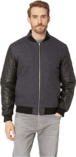 Wool Bomber with Leather Long Sleeves